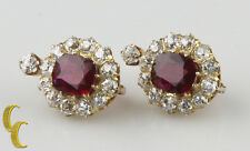 18k Yellow Gold Lever-back 4.12 carat Unaltered Natural Ruby & Diamond Earrings