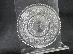 1830S CUP PLATE FLINT ROSE LEE 570 RARE VICTORIA W CROWN GLOWS POSSIBLY ENGLISH