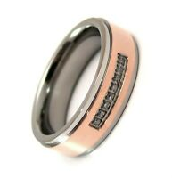 Rose Gold PVD Titanium Ring Jeweled 2 Tone 6 mm Comfort Fit Band Size 8