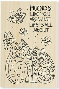 Friends Like You Cat LAUREL BURCH Wood Mounted Stamp STAMPENDOUS New LBP018