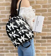 Michael Kors Erin Medium Backpack Vegan Faux Leather Black & White