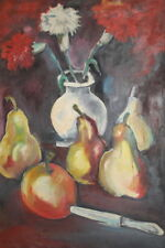 EXPRESSIONIST OIL PAINTING STILL LIFE PEARS