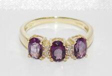 9ct Gold Amethyst & Diamond Eternity Ring - size N