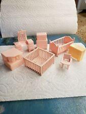 Vintage Marx Dollhouse Nursery, Bedroom Furniture 1950s and Superior End Table