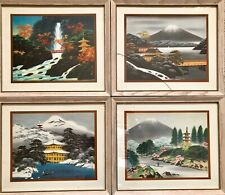 Set Of 4 Donald Art Company NY Vintage 1956 Japanese Picture No Frames D.A.C.N.Y