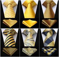 20 Style Silk Ties Checks Striped Yellow Gold Men's Necktie Handkerchief Set