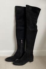 Prada Black Suede Over The Knee Boots 38 Uk 5
