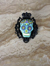 GOTH / Day of the Dead GREEN Sugar SKULL CAMEO Black Pltd BROOCH/PIN /Tie Tack