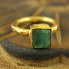 Handmade Turkish Hammered Band Rough Emerald Ring 24K Gold Over Sterling Silver