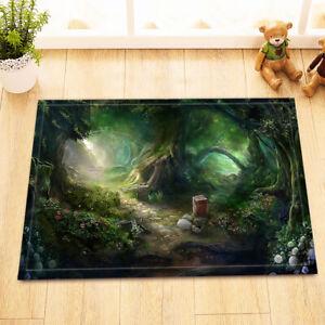 Green Fantasy Forest Stone Path Room Floor Carpet Non-skid Door Bath Mat Decor