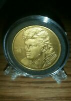 1997 HIGHLAND MINT MARIO LEMIEUX 40MM BRONZE COIN WITH HOLDER & STAND! MINT!