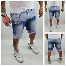 Pantaloncini Uomo Bermuda Jeans Catena Strappati Pantaloni Corti Cotone Sfumato