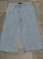 Ladies Next Linen Blend Loose Fit Cropped Summer Trousers Size 10