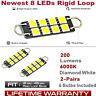 4x 44MM Loop Hook Festoon LED Light Bulbs White Rigid Lamp 8SMD 561 562 567 564