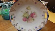 Vintage Bavaria China Serving Plate w/ Handles Hand Painted Gold Trim Roses 9.5""