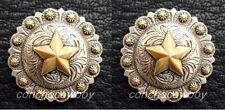Set of 2 WESTERN TACK ANTIQUE GOLD STAR BERRY SCREW BACK CONCHOS SIZE 1 inch