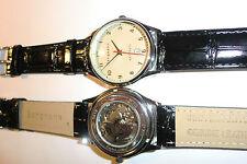 Bergmann-Uhr Highline Automatic 43mm-Genuine Leather  Armband schwarz  Datum-NEU