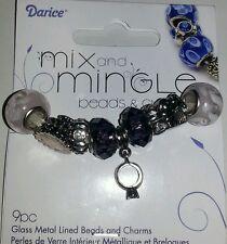 DARICE MIX AND MINGLE BEADS & CHARMS - WEDDING - AJM-BG5123 - PURPLE - 9 PIECE