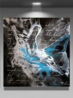 Large Original Modern Black Resin Metallic Silver Fine Art Painting Tara Baden