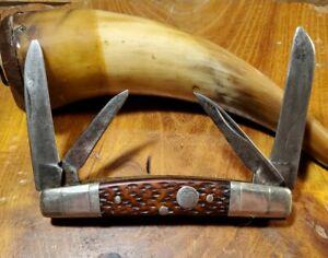 Antique Boker USA 4 Blade Congress Bone Pocket Knife Walks n Talks w Plenty Snap