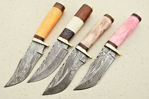 LOT OF 4 CUSTOM HAND MADE DAMASCUS STEEL HUNTING SKINNING  KNIFES - # F-6430