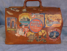 Vintage leather Boston bag, satchel with travel stickers - Pan am, Bombay, Hotel