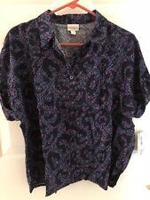 LuLaRoe AMY Blue Pretty Purple Button Shirt Blouse New Small