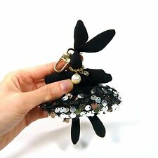 Black Rabbit Bunny Sequin Key Chain Ring Hand Bag Charm Handcrafted Accessories