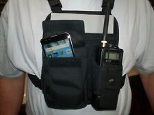 """NEW 4- point """"ID"""" radio chest harness with Cell Phone pocket. Made in USA."""