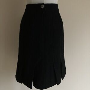 CHANEL SKIRT BLACK BOUCLE WITH FLIRTY HEM SPLITS SEASON 2008 UK 8