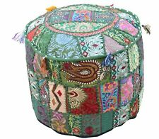 Beautiful Handmade Ethnic Patchwork Pouf Cover Round Stool Ottoman Cover