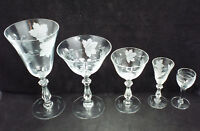 Vintage Depression Era Lot of Etched Grapes & Leaves Glassware, 43 pieces