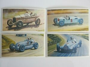 Collectible 1971 Trading - Mobil - The Story Of Grand Prix Motor Racing 4 Cards