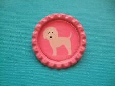 Handmade Goldendoodle Dog Brooch Bottle Cap Badge Cartoon Pink Doodle Puppy