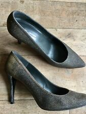 RUSSELL BROMLEY STUART WEITZMAN SILVER SPARKLE BLING HEELS SHOES SEXY 40 6.5