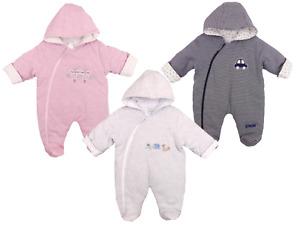 Babies Padded Snowsuit Pram Winter Coat Diagonal Zip Fasteners Boys Girls