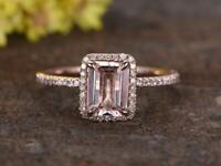 1.2ct Emerald Cut Peach Morganite Engagement Ring 14k RoseGold Finish Halo Women