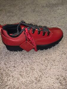 Supreme Timberland Patent Leather Euro Hiker Low Red Size 7.5