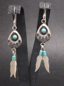 NEU Ohrringe 925 Sterling SILBER Feder earring Ohrhänger Indianerschmuck Türkis