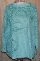 QVC DENIM & CO SOO SOFT WIDE WALE WOVEN CHENILLE PULLOVER SHIRT/BLOUSE TEAL 3X
