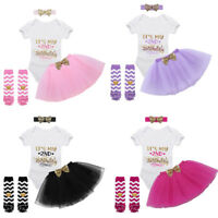 4pcs Baby Girls Outfit Set Its My 2nd Birthday Printed Romper Tutu Skirt Dress