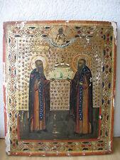Ikone,Antique Russian Orthodox icon ,,Zosima and Savvatiy,, from 19c.