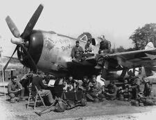 """B&W WW2 Photo WWII P-47  """"Peggy Darlin""""  Nose Art"""