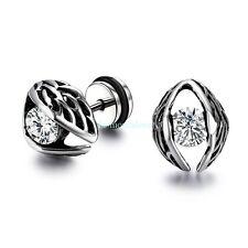 Stainless Steel Big Eye w/ Clear  Zircon Men's Women's Stud Earrings Screw Back