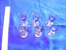 Set of Six Liqueur Glasses Smokey Brown Glass Vintage