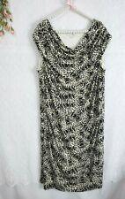 Womens Size 2X Sheath Dress Stretch Leopard Print Larry Levine EUC Ruched Midi