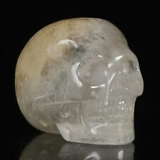 "2.01""Natural Clear Quartz Crystal Carved Skull Metaphysic Healing Power #32H97"