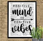 Positive Mind Positive Vibes Dictionary Art Print Unique Inspirational Gift Idea