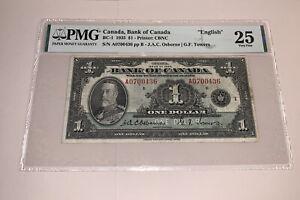 """PMG Canada, Bank of Canada """"English"""" $1 Banknote 1935 BC-1 VF25"""