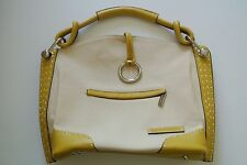 Yellow Leather/Canvas BCBG Medium Hobo Bag, 11 x 11 x 4 in, 4 1/2 in drop